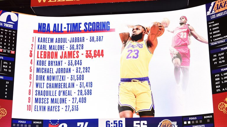 The big screen at the Wells Fargo Center acknowledges the milestone