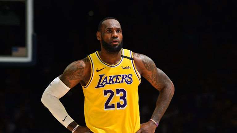 LeBron James #23 of the Los Angeles Lakers looks on during a game against the Philadelphia 76ers on January 25, 2020 at the Wells Fargo Center in Philadelphia, Pennsylvania