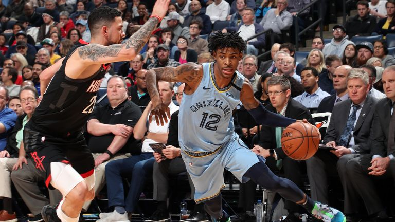 Ja Morant #12 of the Memphis Grizzlies handles the ball against the Houston Rockets on January 14, 2020 at FedExForum in Memphis, Tennessee.
