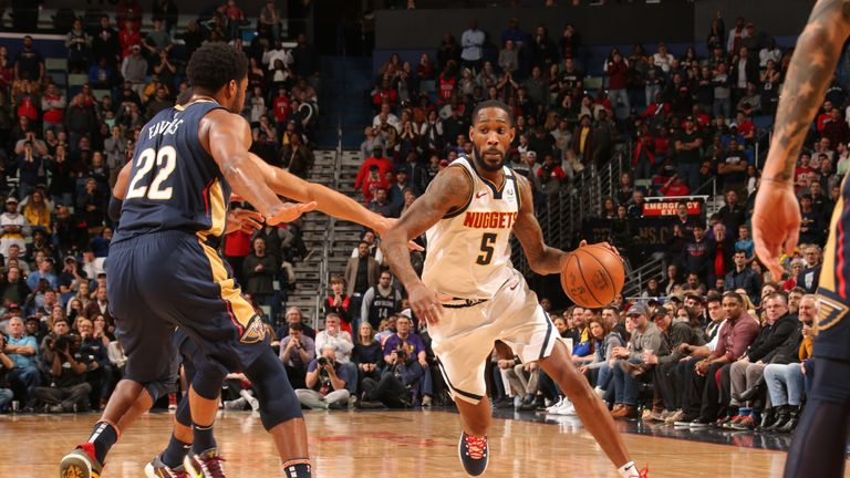 Will Barton #5 of the Denver Nuggets handles the ball against the New Orleans Pelicans on January 24, 2020 at Smoothie King Center in New Orleans, Louisiana.