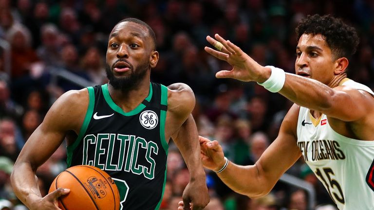 Kemba Walker #8 of the Boston Celtics drives to the basket past Frank Jackson #15 of the New Orleans Pelicans during a game at TD Garden on January 11, 2019 in Boston, Massachusetts.