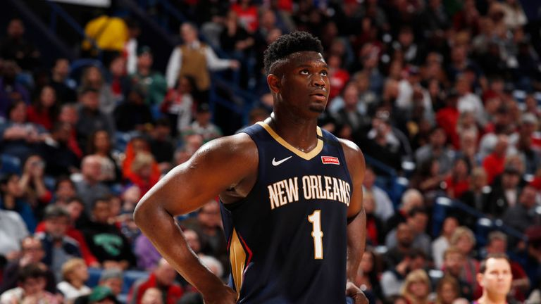 Zion Williamson #1 of the New Orleans Pelicans looks on during a game against the Denver Nuggets on January 24, 2020 at Smoothie King Center in New Orleans, Louisiana.