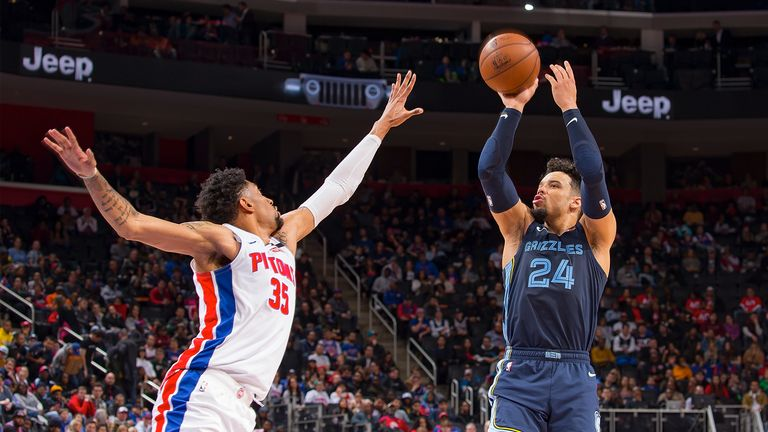 Dillon Brooks #24 of the Memphis Grizzlies shoots the ball over Christian Wood #35 of the Detroit Pistons in the in the second half of an NBA game at Little Caesars Arena on January 24, 2020 in Detroit, Michigan.