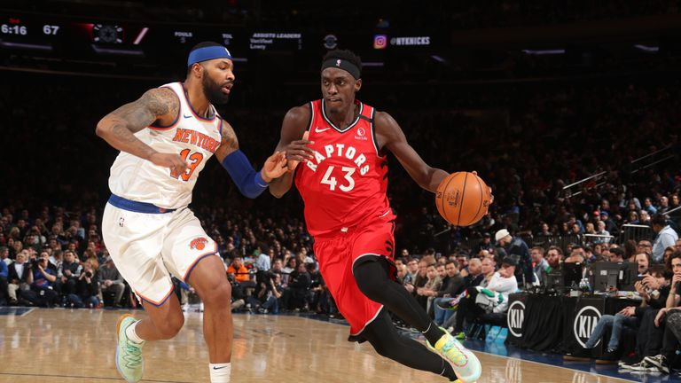 Pascal Siakam #43 of the Toronto Raptors handles the ball against the New York Knicks on January 24, 2020 at Madison Square Garden in New York City, New York.