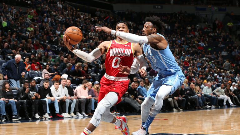 Russell Westbrook #0 of the Houston Rockets drives to the basket against the Minnesota Timberwolves on January 24, 2020 at Target Center in Minneapolis, Minnesota.