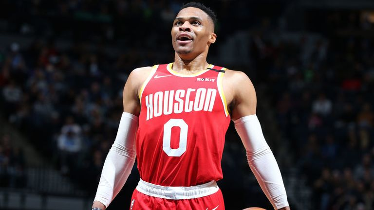 Russell Westbrook #0 of the Houston Rockets shoots free throws against the Minnesota Timberwolves on January 24, 2020 at Target Center in Minneapolis, Minnesota.