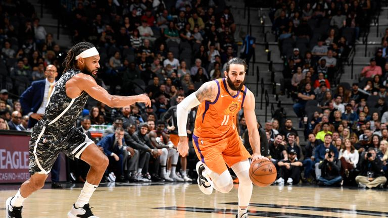 Ricky Rubio #11 of the Phoenix Suns drives to the basket against the San Antonio Spurs on January 24, 2020 at the AT&T Center in San Antonio, Texas.