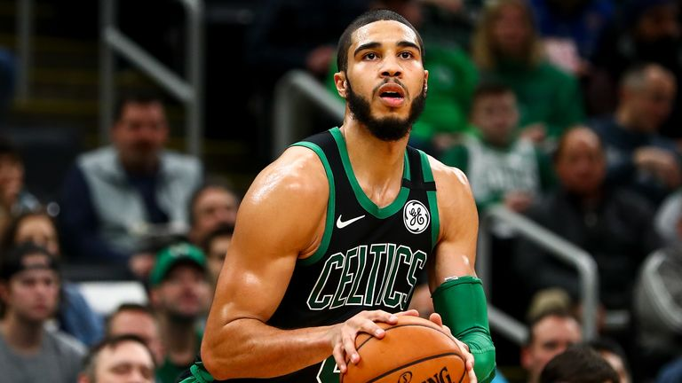 Jayson Tatum #0 of the Boston Celtics shoots the ball during a game against the New Orleans Pelicans at TD Garden on January 11, 2019 in Boston, Massachusetts.