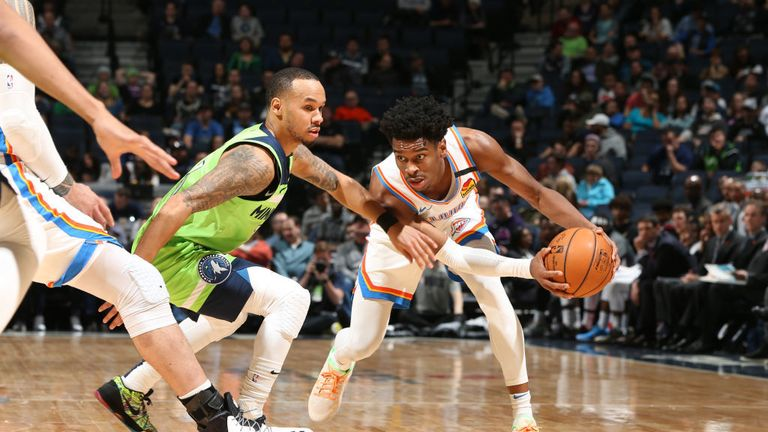 Shai Gilgeous-Alexander #2 of the Oklahoma City Thunder handles the ball against the Minnesota Timberwolves on January 25, 2020 at Target Center in Minneapolis, Minnesota.