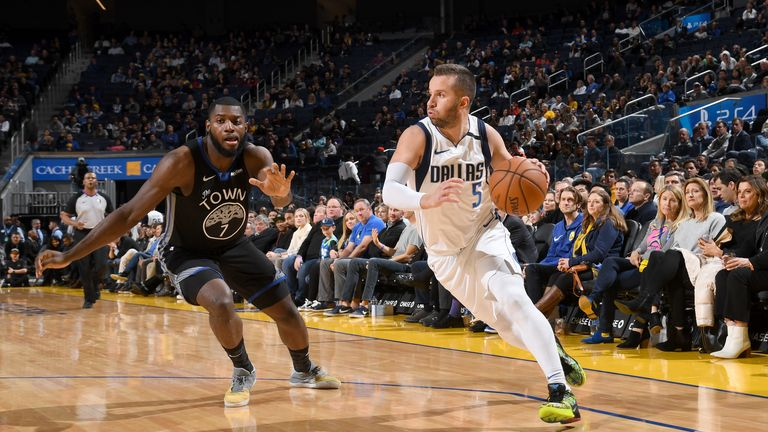 J.J. Barea #5 of the Dallas Mavericks handles the ball against the Golden State Warriors on January 14, 2020 at Chase Center in San Francisco, California.