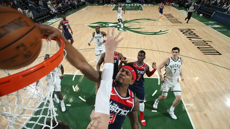 Bradley Beal #3 of the Washington Wizards goes up for a dunk during the game against the Milwaukee Bucks on January 28, 2020 at the Fiserv Forum Center in Milwaukee, Wisconsin.