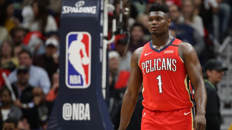 Zion Williamson #1 of the New Orleans Pelicans looks on during the game against the San Antonio Spurs at Smoothie King Center on January 22, 2020 in New Orleans, Louisiana.