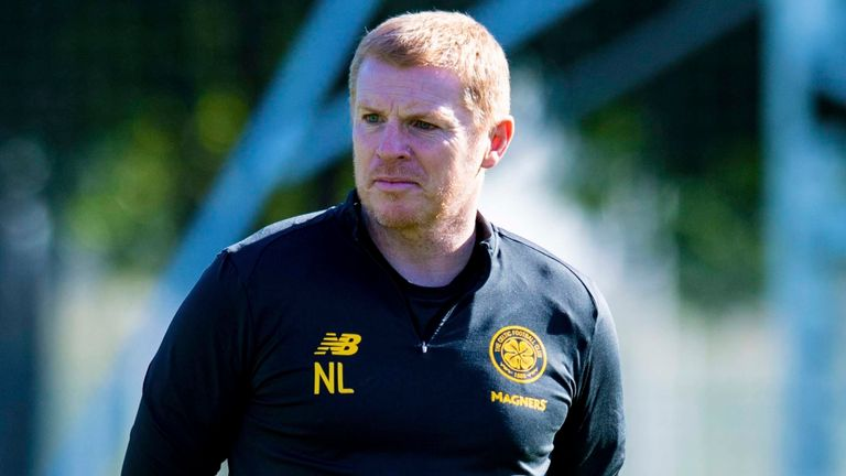 Manager Neil Lennon is pictured during a Celtic training session on January 07, in Dubai, United Arab Emirates.