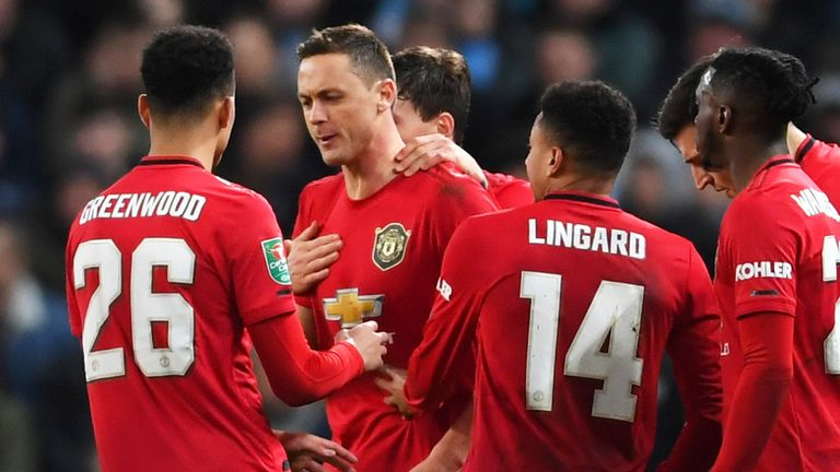 Nemanja Matic celebrates with team-mates after scoring during the Carabao Cup, Semi-Final match between Manchester City and Manchester United at Etihad Stadium on January 29, 2020