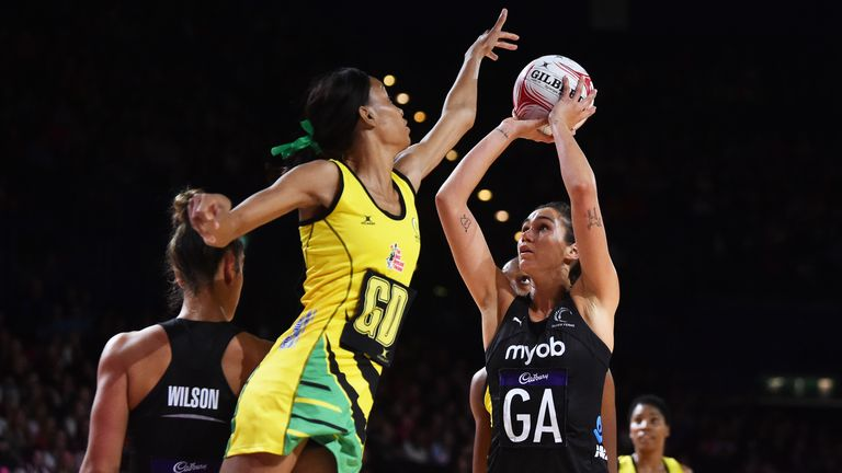 Amerliaranne Ekenasio of New Zealand Silver Ferns in action during the Vitality Netball Nations Cup 2020 match between Jamaica Sunshine Girls and New Zealand Silver Ferns at Arena Birmingham
