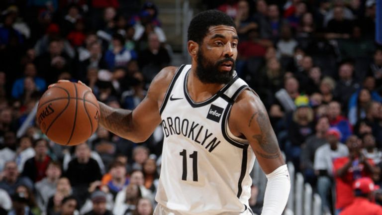 Kyrie Irving #11 of the Brooklyn Nets handles the ball against the Detroit Pistons on January 25, 2020 at Little Caesars Arena in Detroit, Michigan.
