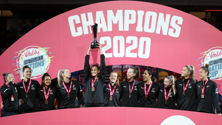 New Zealand lift the trophy after their teams victory in the vitality Netball Nations Cup 2020 match between New Zealand Silver Ferns and Jamaica Sunshine Girls at Copper Box Arena