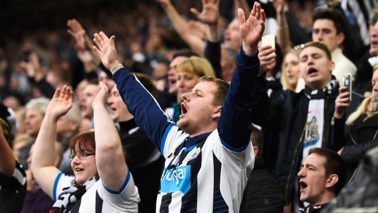Newcastle United fans during a Tyne-Wear derby against Sunderland