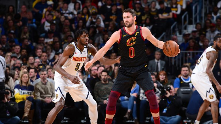 Kevin Love #0 of the Cleveland Cavaliers handles the ball against the Denver Nuggets on January 11, 2020 at the Pepsi Center in Denver, Colorado