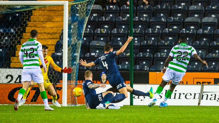 Edouard slides home his 18th goal of the season at Rugby Park on Wednesday
