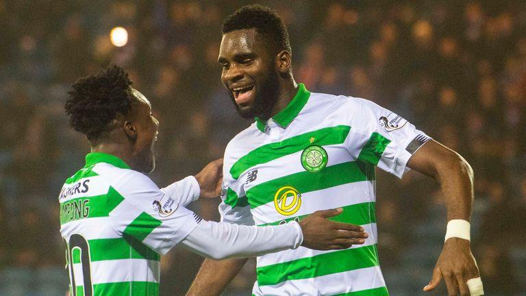 Odsonne Edouard celebrates with Jeremie Frimpong