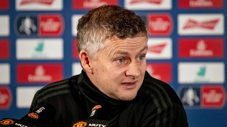Manager Ole Gunnar Solskjaer of Manchester United speaks during a press conference at Aon Training Complex on January 03, 2020 in Manchester, England.