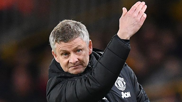 Manchester United manager Ole Gunnar Solskjaer gestures on the touchline during the FA Cup third round football match against Wolves at Molineux
