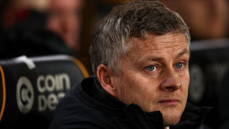 Ole Gunnar Solskjaer the head coach / manager of Manchester United during the FA Cup Third Round match between Wolverhampton Wanderers and Manchester United at Molineux on January 4, 2020 in Wolverhampton, England.