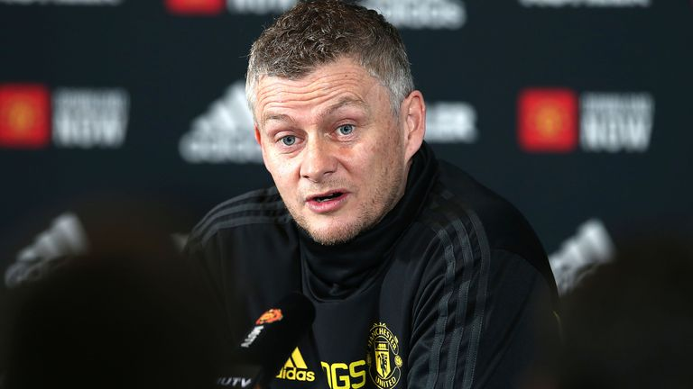 Ole Gunnar Solskjaer during a press conference at Carrington