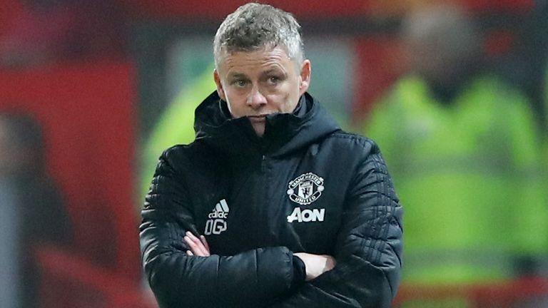 Manchester United manager Ole Gunnar Solskjaer watching against Burnley