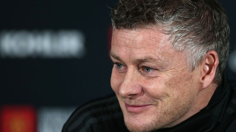 Manager Ole Gunnar Solskjaer of Manchester United speaks during a press conference at Aon Training Complex on January 06, 2020 in Manchester, England.