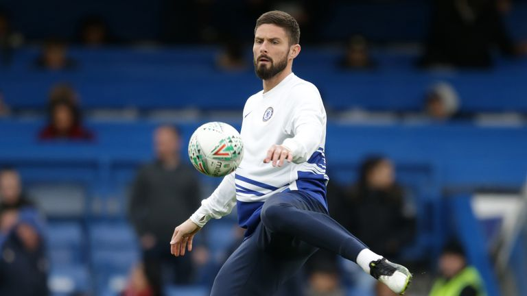 Olivier Giroud of Chelsea before the FA Cup Third Round match between Chelsea FC and Nottingham Forest at Stamford Bridge on January 05, 2020 in London, England.