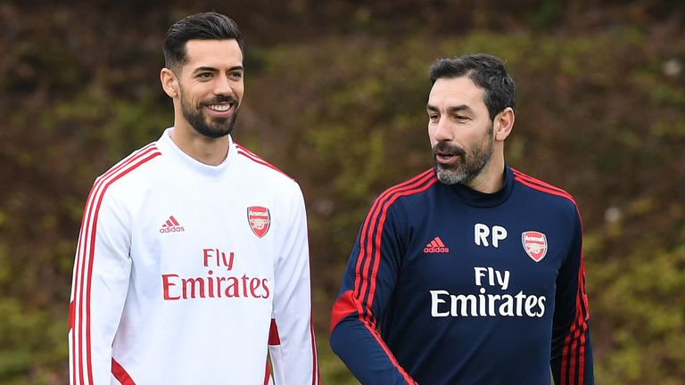 Pablo Mari with Robert Pires during an Arsenal training session at London Colney