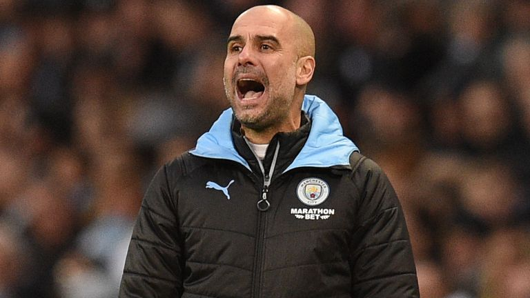 Pep Guardiola during Manchester City vs Crystal Palace at the Etihad Stadium
