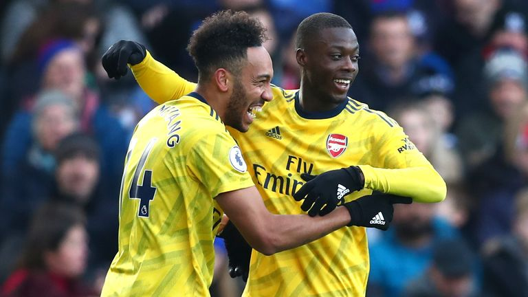 Nicolas Pepe (right) has scored five goals since his summer arrival from Lille
