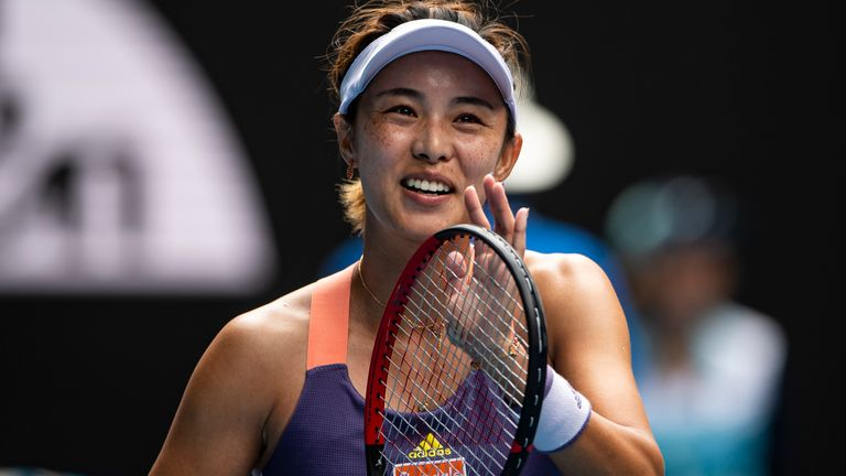 Wang celebrates a stunning win over Williams on Friday