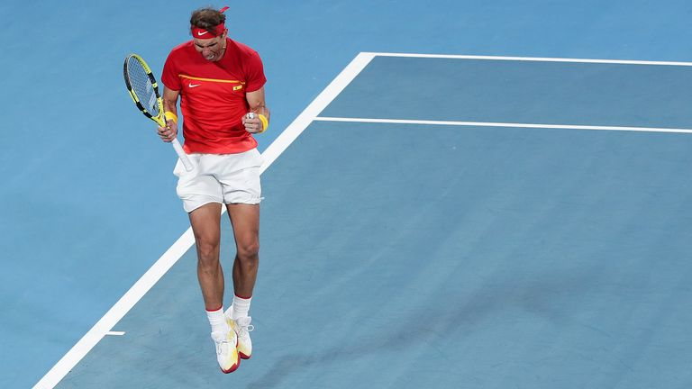 Despite struggling with the hot conditions Nadal elected to come back out for the doubles