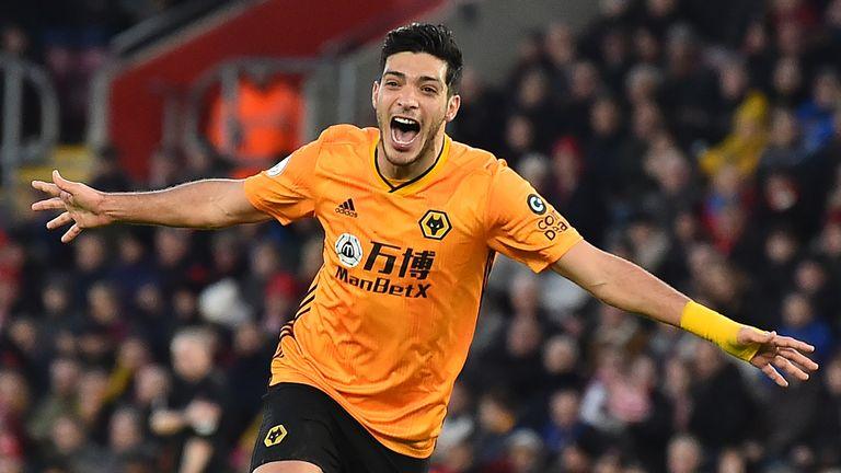 Raul Jimenez celebrates scoring against Southampton