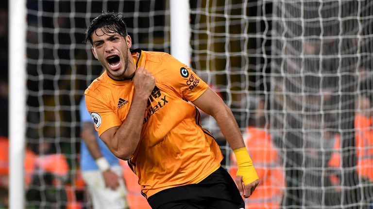 Jiminez celebrates scoring for Wolves against Manchester City