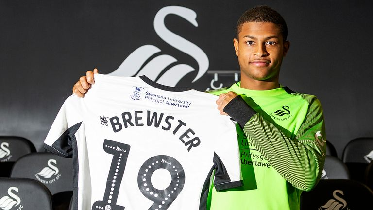 Swansea Citys new loan signing Rhian Brewster at the Fairwood Training Ground on January 07, 2020 in Swansea, Wales