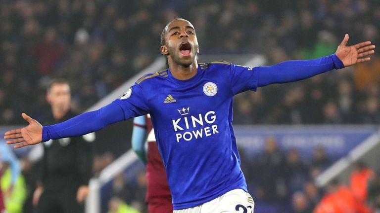 Ricardo Pereira celebrates scoring Leicester's second goal