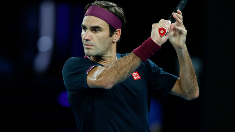 Roger Federer of Switzerland in action during his Men's Singles first round match against Steve Johnson of the United States on day one of the 2020 Australian Open at Melbourne Park on January 20, 2020 in Melbourne, Australia