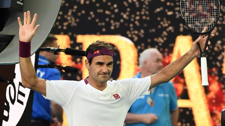 Federer celebrates his sensational victory against Sandgren