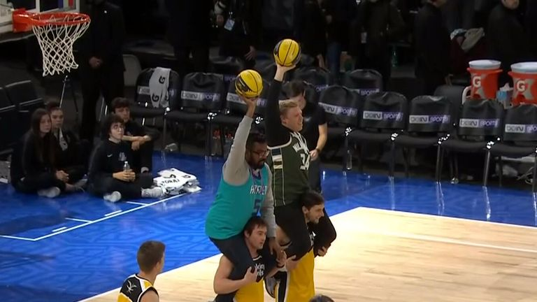 Romesh Ranganathan and Rob Beckett got involved in the half time entertainment of the Bucks at Hornets game in Paris