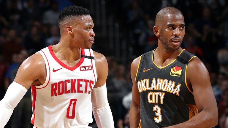 Russell Westbrook and Chris Paul match up during a Rockets-Thunder clash