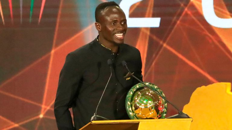 Senegal winger Sadio Mane speaks after winning the Player of the Year award during the 2019 CAF Awards in the Egyptian resort town of Hurghada on January 7, 2020