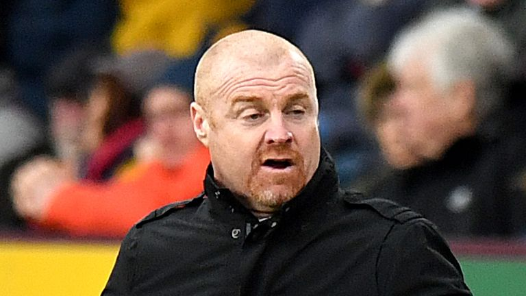 Burnley manager Sean Dyche gestures on the touchline during the FA Cup third round match against Peterborough at Turf Moor
