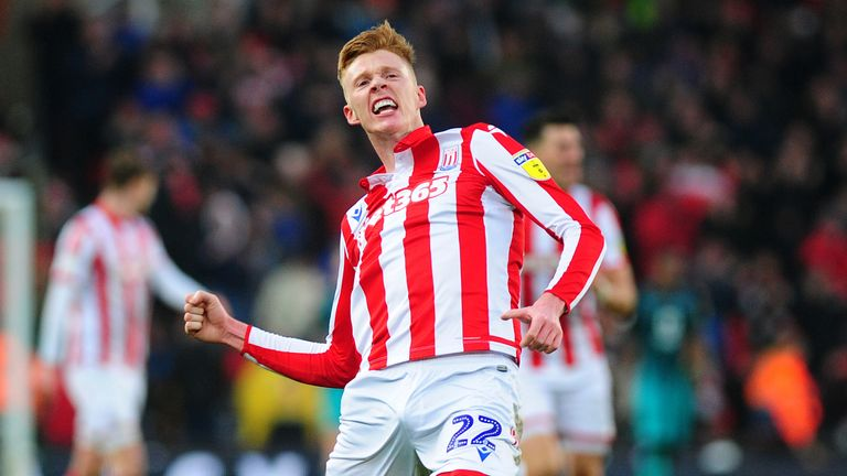 STOKE-ON-TRENT, ENGLAND - JANUARY 25: Sam Clucas of Stoke City celebrates scoring the opening goal during the Sky Bet Championship match between Stoke City and Swansea City at the Bet 365 Stadium on January 25, 2020 in Stoke-on-Trent, England. (Photo by Athena Pictures/Getty Images)
