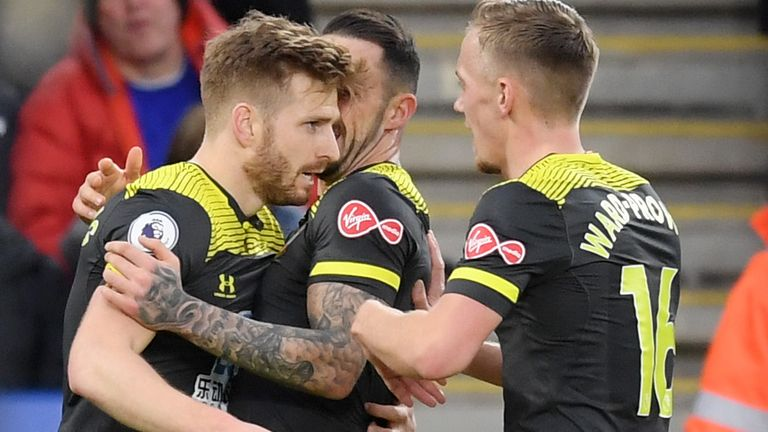 Stuart Armstrong and team-mates celebrate his equaliser