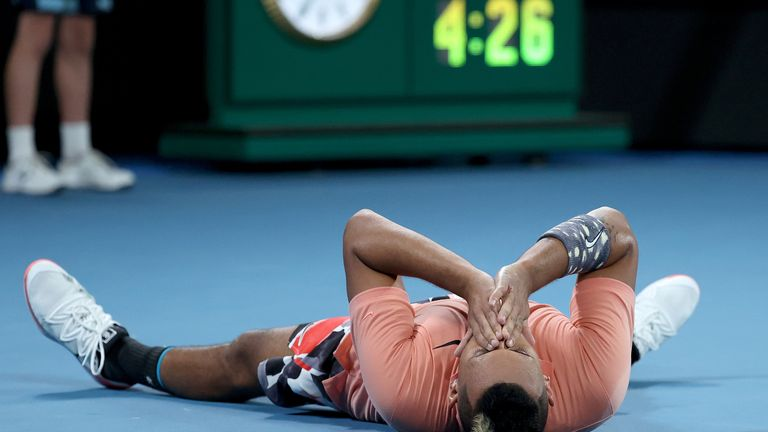 Kyrgios takes in his moment of victory